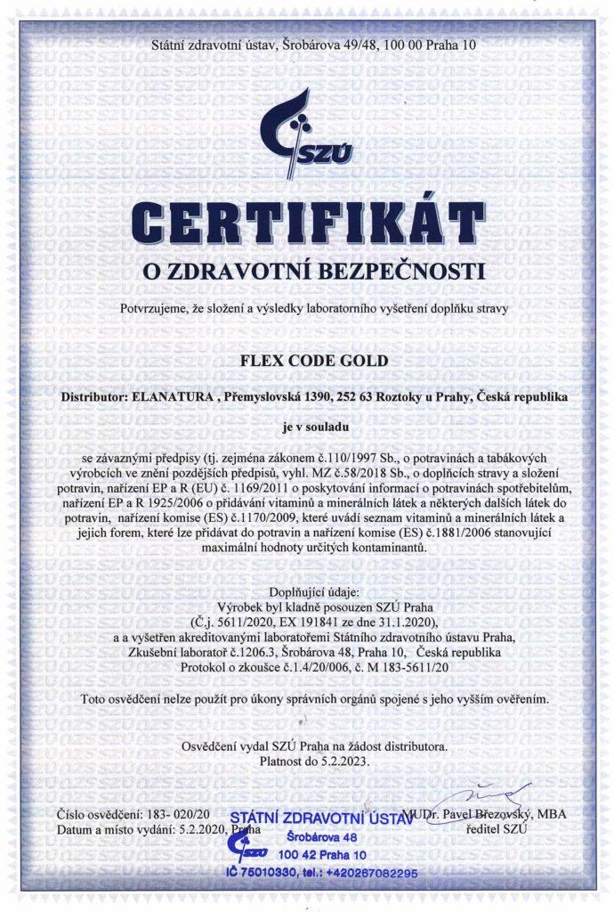 Flex Code Gold - certifikát SZU